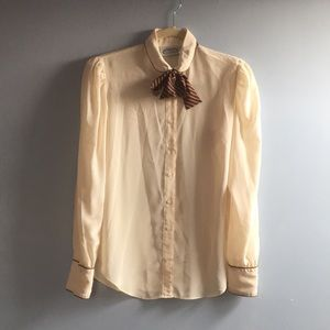 Vintage 1970's menswear style blouse with tie